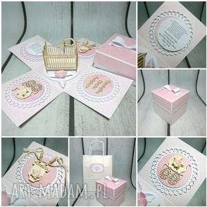 kartki exploding box / eksplodujące pudełeczko w różu, komunia, chrzest, urodziny