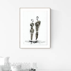 grafika a4 malowana ręcznie, minimalizm, abstrakcja czarno-biała - obrazy
