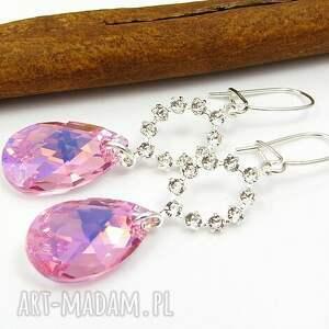 kolczyki różany świt swarovski light rose ab, biżuteria