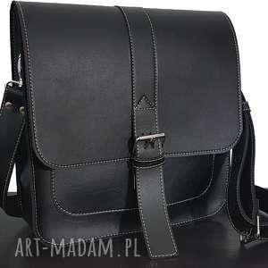 hand-made listonoszka, torba na ramię, czarny skaj