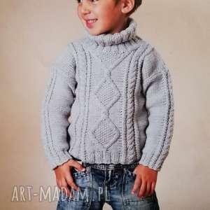 Prezent Sweterek Caen, sweter, dziecięcy, wełniany, dziergany, prezent, chłopięcy