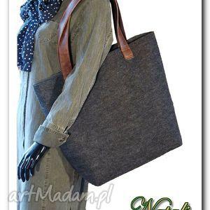 handmade bardzo duża xxl, grafitowa minimalistyczna i pojemna torebka