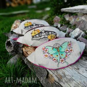 nerka, motyl, haft, biodrówka, lniana, haftowana