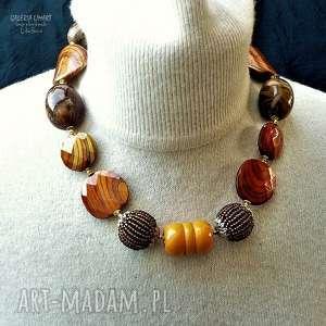 jesienny naszyjnik efektownie i modnie na szyi uroczy prezent hand made - akryl