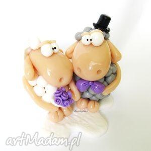 ślub figurka na tort ślubny zakochane owieczki, ślub, modelina, tort, owce
