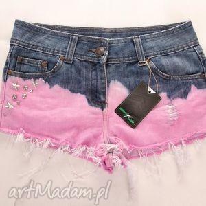 spodnie spodenki szorty ombre z ćwiekami, spodenki, spodnie, szorty, ćwieki