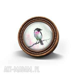 broszka drewniana liliarts - ptaszek - drewno, naturalna, ptak, oryginalna, prezent
