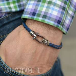 Bransoletka skórzana męska uno plait buckle steel niebieska