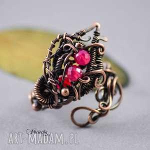 morrigan - pierścionek z agatem, pierścionek, miedź, agat, na-prezent, wire-wrapping