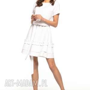 Sukienka z ozdobną falbanką na spódnicy, T267, biały, elegancka,