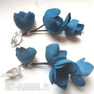 klipsy kwiatowe lekkie bardzo bujne wiszące, polecam box x1, indygo, boho