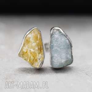 925 Srebrny pierścionek z cytrynem i akwamarynem *LINIA PREMIUM *, kamienie