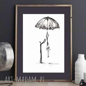 oryginalny rysunek tuszem, abstrakcja obraz deszczowa ulica, plakat A4, parasole