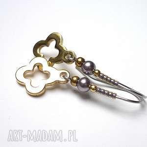 Alloys Collection /koniczynka/, stal, szlachetna, pozłacane, perły, swarovski, toho