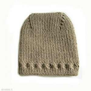 czapka z uniesioną górą, czapka, wełniana, dziergana, ciepła, prezent, unisex