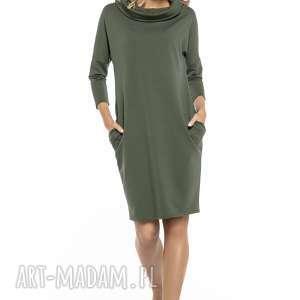 Luźna sukienka z golfem i kieszeniami, t246, zielony sukienki