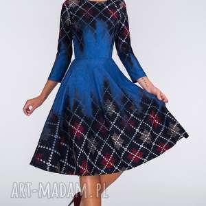 sukienka star 3/4 midi roxana, krata, denim, kieszenie, midi, rozkloszowana, romby