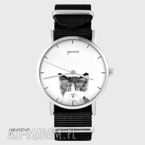 hand made zegarki zegarek, bransoletka - kotek - czarny, nato
