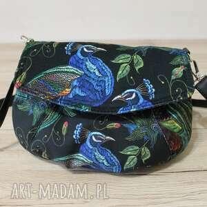 torebka z klapką - pawie, ptaki, pakowna, nowoczesna, elegancka