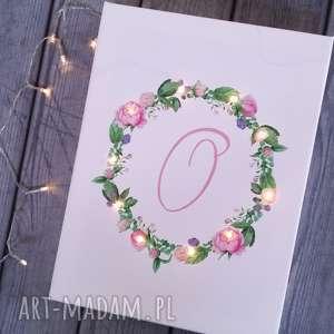 Prezent ŚWIECĄCY OBRAZ wianek prezent dla niej litera wianuszek kwiaty pastele