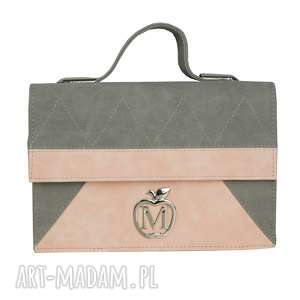 handmade torebki manzana teczka listonoszka zygzak szaro różowa