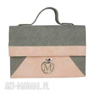 MANZANA teczka listonoszka ZYGZAK szaro różowa, torebka, damska, teczka, torba
