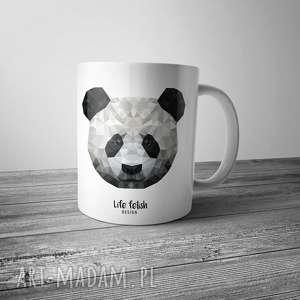 kubki kubek z pandą, panda, kubek, kawa, grafika, lowpoly, wild