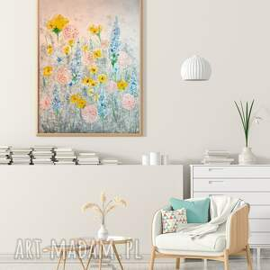 pastelowa łąka 50x70cm, kwiaty, łąka, obraz, sztuka, wiosna