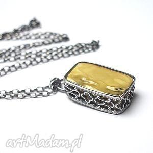 amber -naszyjnik - bursztyn, srebro, oksydowane, metaloplastyka