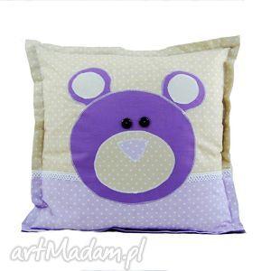 fioletowy miŚ bawełniana poduszka w kropeczki - poduszka, miś, bawełna