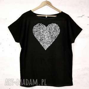 SERCE koszulka bawełniana z nadrukiem L/XL czarna, koszulka, bluzka, serce, nadruk