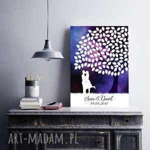 Drzewo wpisów gości weselnych - Gwieździste niebo - Plakat 50x70 cm, wesele