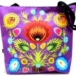 hand-made na ramię torba zamek z kwiatem folk