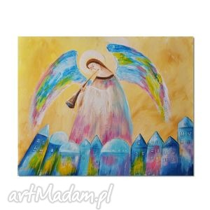 anioł saratiel, obraz ręcznie malowany - anioł, obraz, ręcznie, malowany