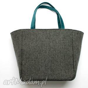 ręcznie zrobione na ramię shopper bag worek - tkanina dark grey i morski