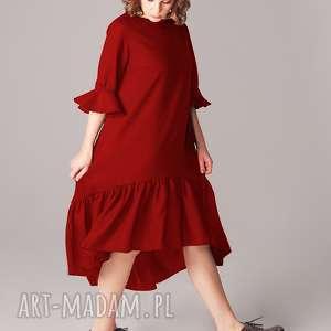 sukienka z marszczoną falbaną , czerwień, walentynki, naokazję, zfalbankami, długa