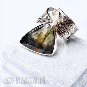 Pierścień z agatem mszystym dziki krolik agat mszysty, srebro