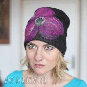 czapka czarna wełniana handmade, wełna, etno, boho, kwiaty, ciepła, zima