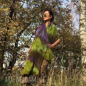 ciepły wełniany szal oliwka fiolet, prezent, wełna, dzianina, zimowy