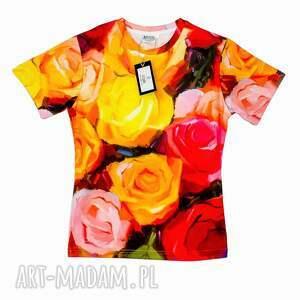 artystyczny t-shirt damski - malowane róże jakość premium, wzór, róże, artystyczna