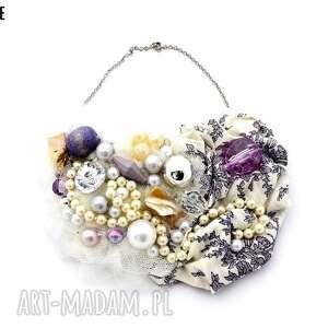 lilly naszyjnik handmade, naszyjnik, beż, beżowy, fioletowy, liliowy