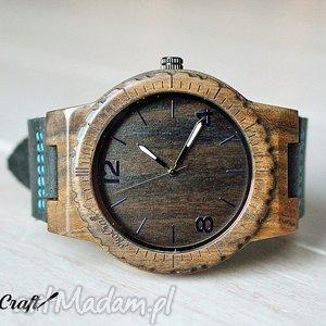 Drewniany zegarek HAWK, zegarek, drewniany, heban, drewno, skóra, ekologiczny
