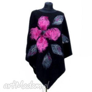 ponczo różowy kwiat, ponczo, filcowane, wełna, czesanka poncho