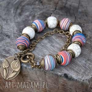 bransoletka z howlitów na codzień c498 - bransoletka modowa, kolorowa bransoletka
