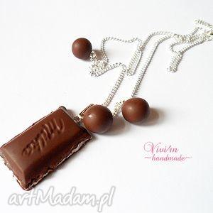 naszyjnik z kostką czekolady, fimo, czekolada, posrebrzany