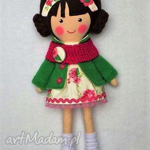 lalki malowana lala róża z wełnianym szalikiem, lalka, zabawka, przytulanka, prezent