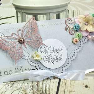kartka ślubna - pastelove - ślub, ślubna, kartka, kopertówka, motyle