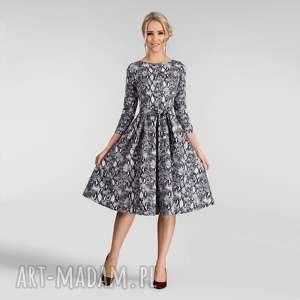 sukienka marie 3/4 midi wężowy wzór, jesienna, midi