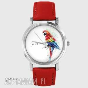 handmade zegarki zegarek - papuga czerwony, skórzany