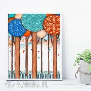 unikalny, drzewa a3, grafika, plakat, ilustracje, drzewa